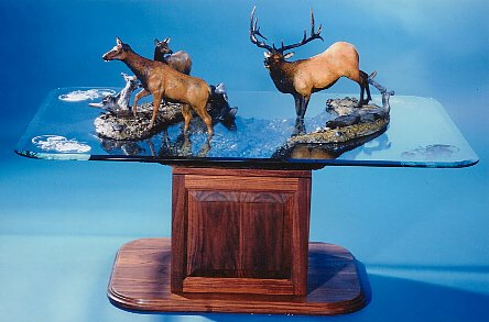 """Crossing the Madison50""""L34""""W33""""H - ed./35$17,000.00 USD $22,950.00 CAD Crossing the Madison - Table Bronze Sculpture Coffee tables  Bronze Sculpture home decor"""