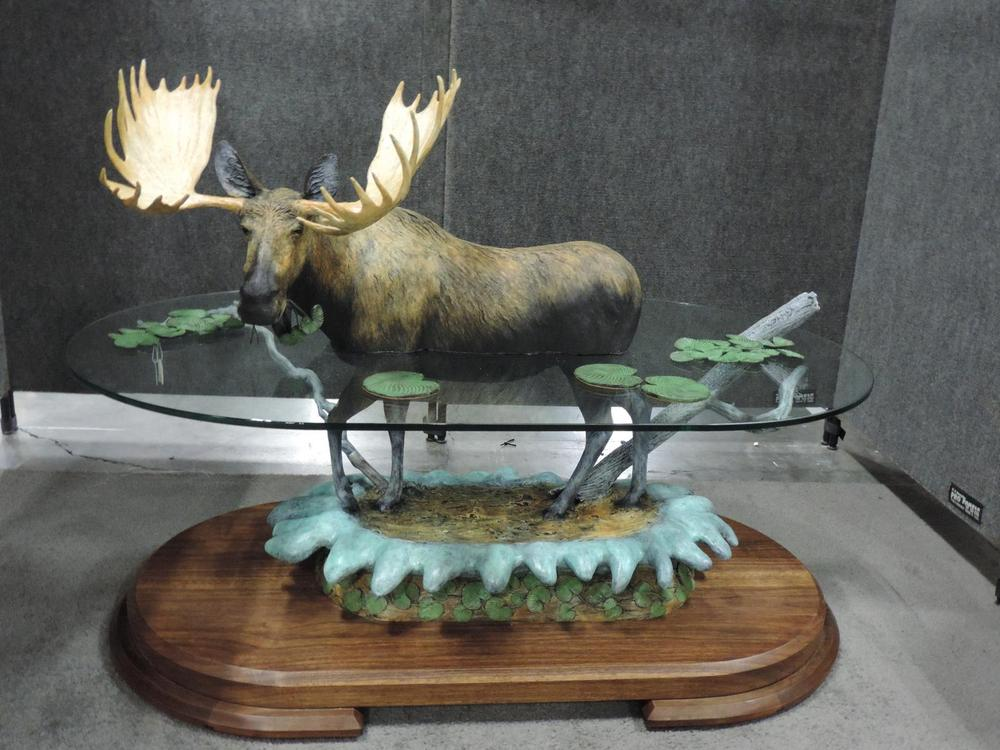 "Swamp Salad48""L 33""H 24""W - ed./8$16,000.00 USD $21,50.00CAD Moose - Coffee Table Bronze Sculpture Coffee tables  Bronze Sculpture home decor"