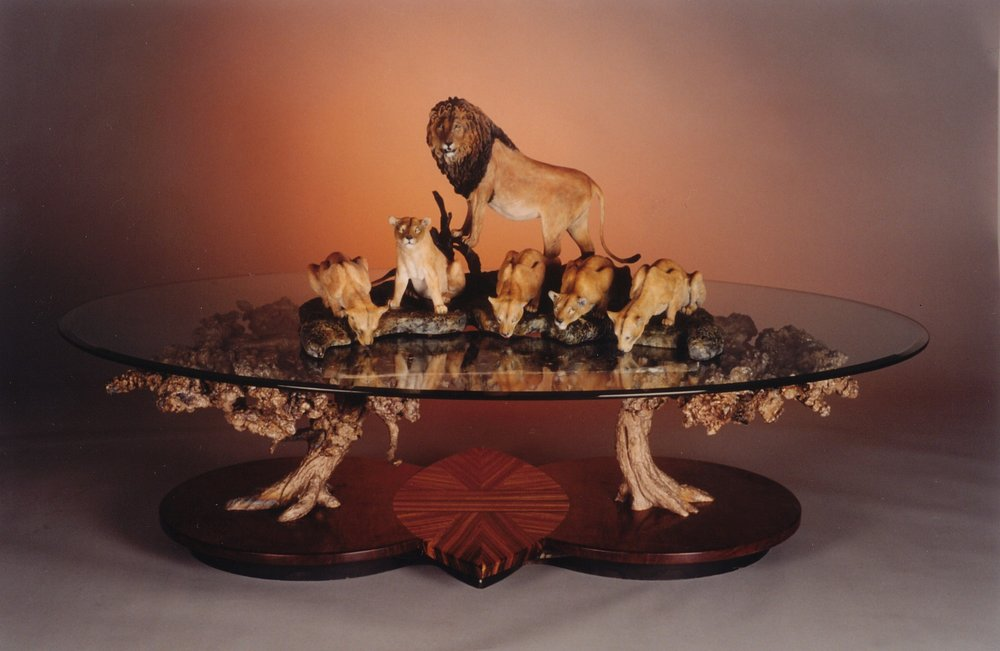 "Pride of the Serengetti66""L 34""H 43""W - ed./12$35,000.00 USD $47,250.00 CADLions on base available upon request. Pride of the Serengetti - Table Bronze Sculpture Coffee tables  Bronze Sculpture home decor"