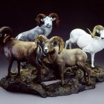 """A League of Extraordinary GentlemenTotal Size 25""""W 26""""L 21""""HIndividual sizes vary. - ed./45Price includes pedestal - Wildlife Bronze Sculpture Bronze Sculpture of North American Animals Bronze Big Game Animal Statues"""