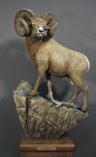 "A View From the Top34""H 22""L 14""WPedestal 32""H 14""W at top 22""W at bottom - ed./20 - Wildlife Bronze Sculpture Bronze Sculpture of North American Animals Bronze Big Game Animal Statues"