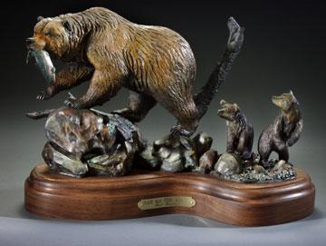 "Aah! Ma! Fish Again?14""L10""H 6""W - ed./25 - Wildlife Bronze Sculpture Bronze Sculpture of North American Animals Bronze Big Game Animal Statues"