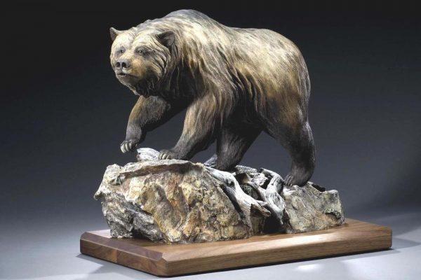 "Big Trouble20""H 26""L 14""W - ed./30 - Wildlife Bronze Sculpture Bronze Sculpture of North American Animals Bronze Big Game Animal Statues"