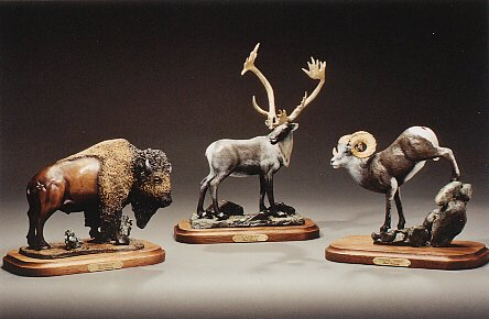 "Buffalo; Caribou; Stone Sheep6""-8""L&H - ed./75 - Wildlife Bronze Sculpture"