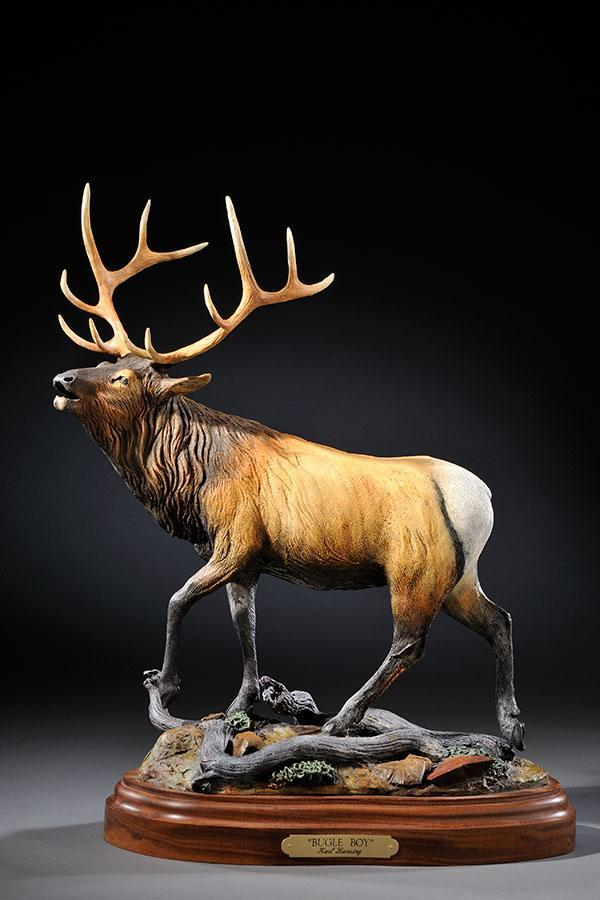 "Bugle Boy19""H 14""L 7""W - ed./30 - Wildlife Bronze Sculpture Bronze Sculpture of North American Animals Bronze Big Game Animal Statues"