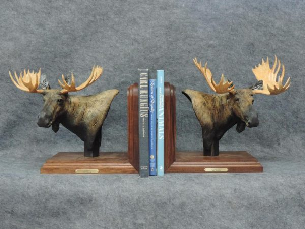 "Canadian & Shiras Moose Bookends10""L 12""H 6""W each - ed./20 - Wildlife Bronze Sculpture Bronze Sculpture of North American Animals Bronze Big Game Animal Statues"