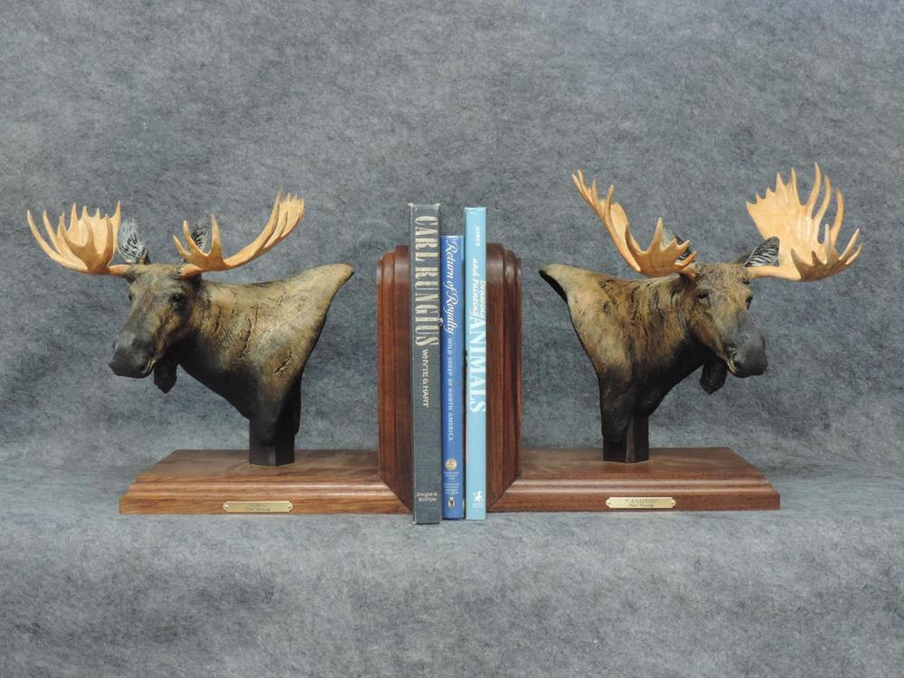 "Canadian & Shiras Moose Bookends10""L 12""H 6""W each - ed./20 - Wildlife Bronze Sculpture Bronze Sculpture of North American Animals Bronze Big Game Animal Statues"