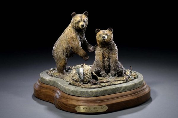 "Chaos & Mischief11""L 10""H 9""W - ed./30 - Wildlife Bronze Sculpture Bronze Sculpture of North American Animals Bronze Big Game Animal Statues"