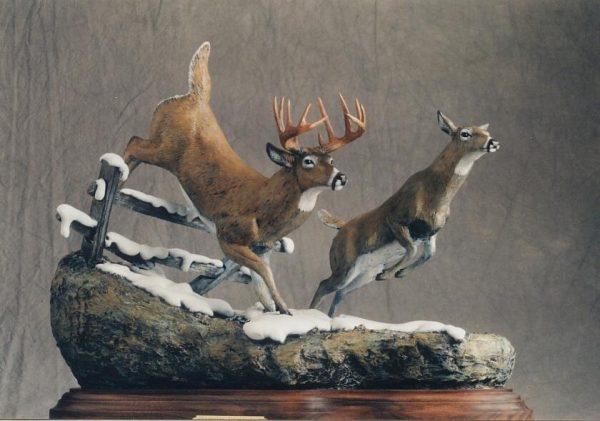 "Courtship on the Run20""L10""W17""H - ed./25 - Wildlife Bronze Sculpture Bronze Sculpture of North American Animals Bronze Big Game Animal Statues"
