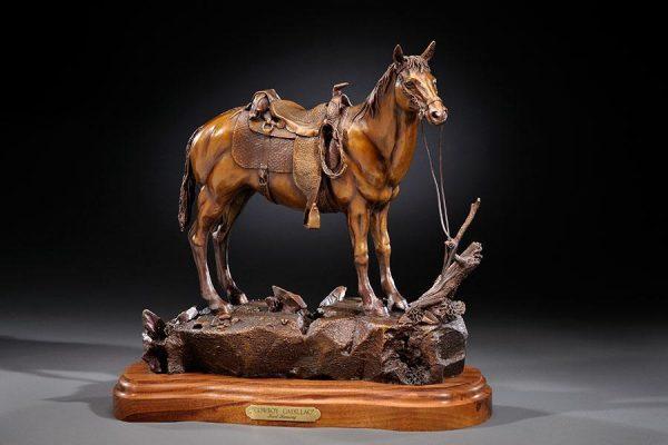 """Cowboy Cadillac17""""H 18""""L 9""""W - ed./25 - Wildlife Bronze Sculpture Bronze Sculpture of Horses Bronze Equine Statues"""
