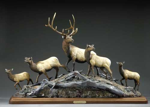 "Distant Challenge29""H 46""L 10""W - ed./20 - Wildlife Bronze Sculpture Bronze Sculpture of North American Animals Bronze Big Game Animal Statues"