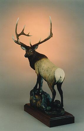 "Elk Valley - His Domain18""H14""L8""W - ed./100 - Wildlife Bronze Sculpture Bronze Sculpture of North American Animals Bronze Big Game Animal Statues"