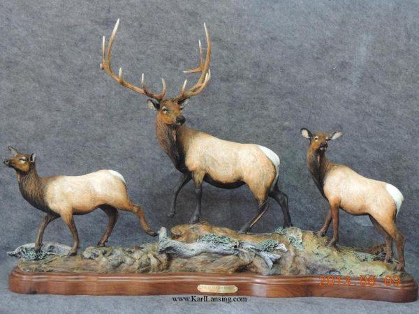 "Fall Gathering37""L 24""H 10""W - ed. /15 - Wildlife Bronze Sculpture Bronze Sculpture of North American Animals Bronze Big Game Animal Statues"