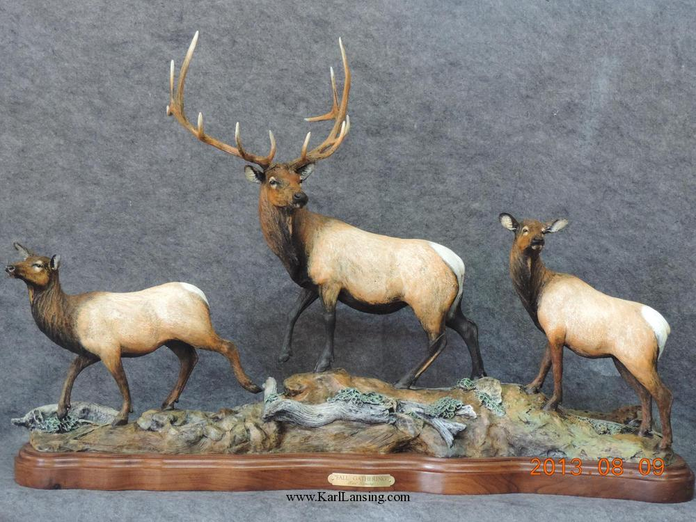 "Fall Gathering37""L 24""H 10""W - ed. /15 - Wildlife Bronze Sculpture Bronze Sculpture of North American Animals Bronze Big Game Animal Statues"