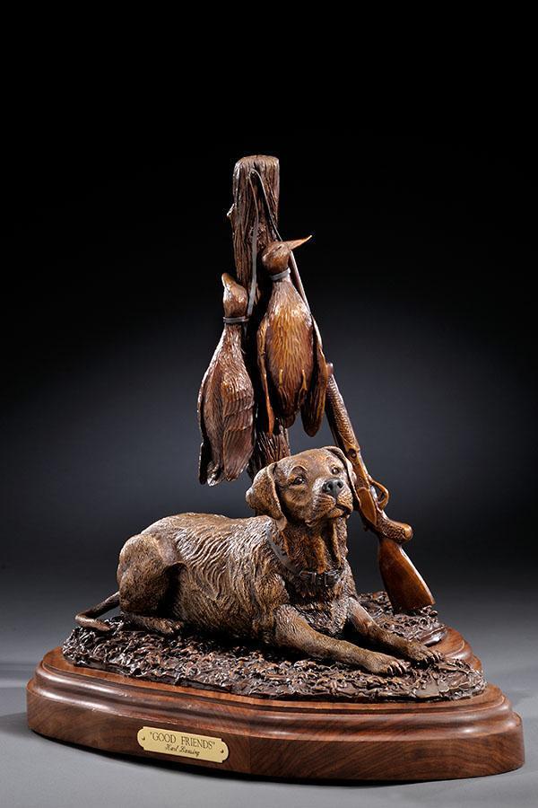 "Good Friends16""H 16""L 11""W - ed./30 - Wildlife Bronze Sculpture bronze sculpture of North American Animals bronze statues"