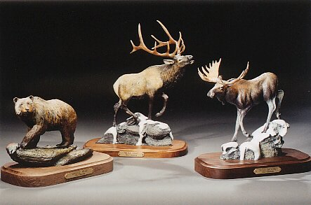 "Grizzly Bear; Bull Elk; Bull Moose6""-8""L&H - ed./75 - Wildlife Bronze Sculpture"