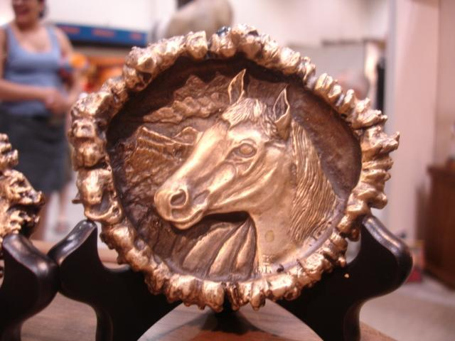 "Horse ""Burr"" Bronze Belt Buckleed./1000 - 3""W 3""H - Wildlife Bronze Sculpture Bronze Big Game Belt Buckles Bronze Equine Belt Buckles"