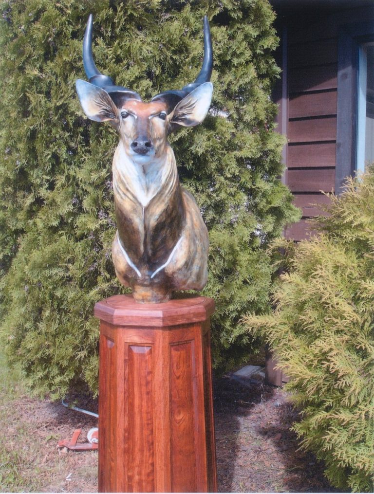"""Lord Derby 22""""L 36""""H 16""""WPedestal: 38""""H 17""""W - Babinga Wood - ed./18Available without pedestal upon request. - Wildlife Bronze Sculpture"""