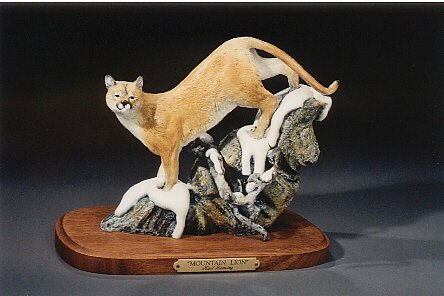 "Mountain Lion6""-8""L&H - ed./75 - Wildlife Bronze Sculpture"