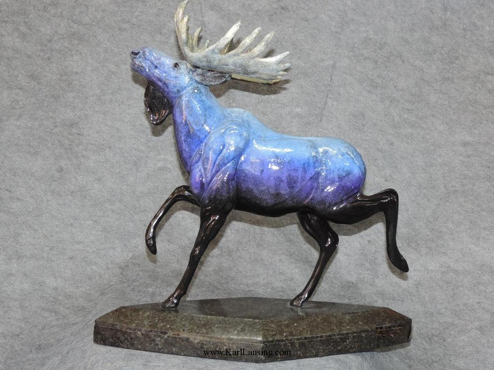 "Once in a Blue Moose21""H 9""W 21""L - ed./15 - Wildlife Bronze Sculpture Contemporary Bronze Sculpture of North American Animals Contemporary Bronze Statues"