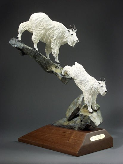 "Over the Edge15""L 24""H 8""W - ed./25 - Wildlife Bronze Sculpture Bronze Sculpture of North American Animals Bronze Big Game Animal Statues"