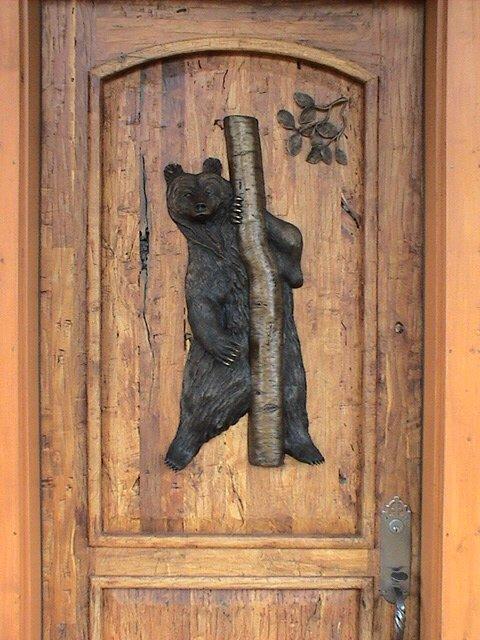 Peek-a-Boo33H 13W - ed./15 Front & back of door included. - Wildlife Bronze Sculpture Bronze Sculpture Home Decor Bronze Sculpture Home Accents