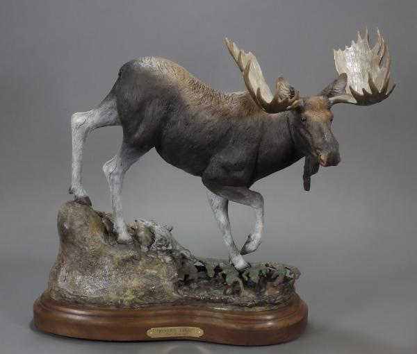 "River`s Edge19""H 22""L 8""W - ed./30 - Wildlife Bronze Sculpture Bronze Sculpture of North American Animals Bronze Big Game Animal Statues"