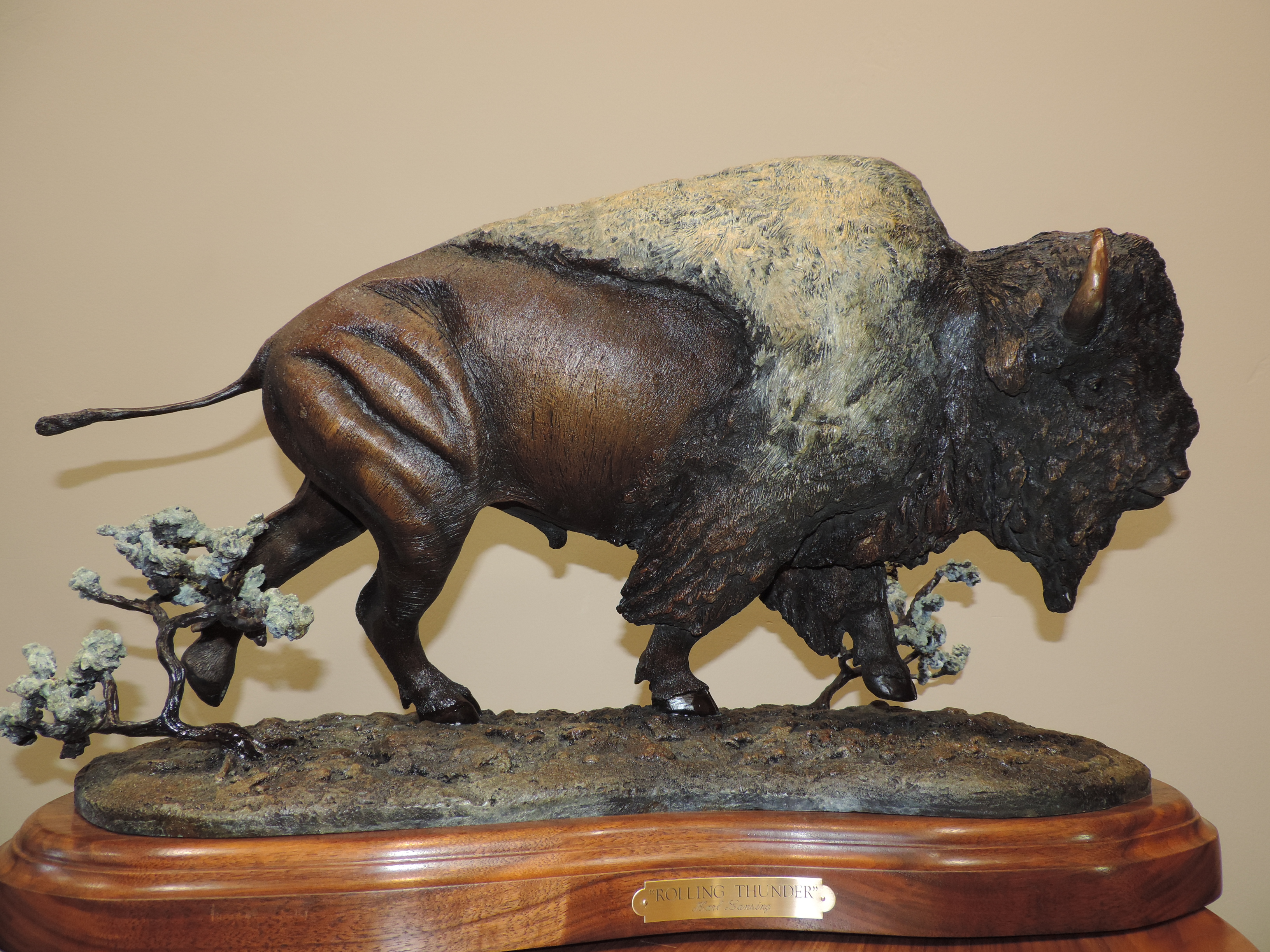 "Rolling Thunder27""L17""H12""W - ed./30Only Artist Proofs left - Wildlife Bronze Sculpture Buffalo Bull Sculpture Bison Statue"