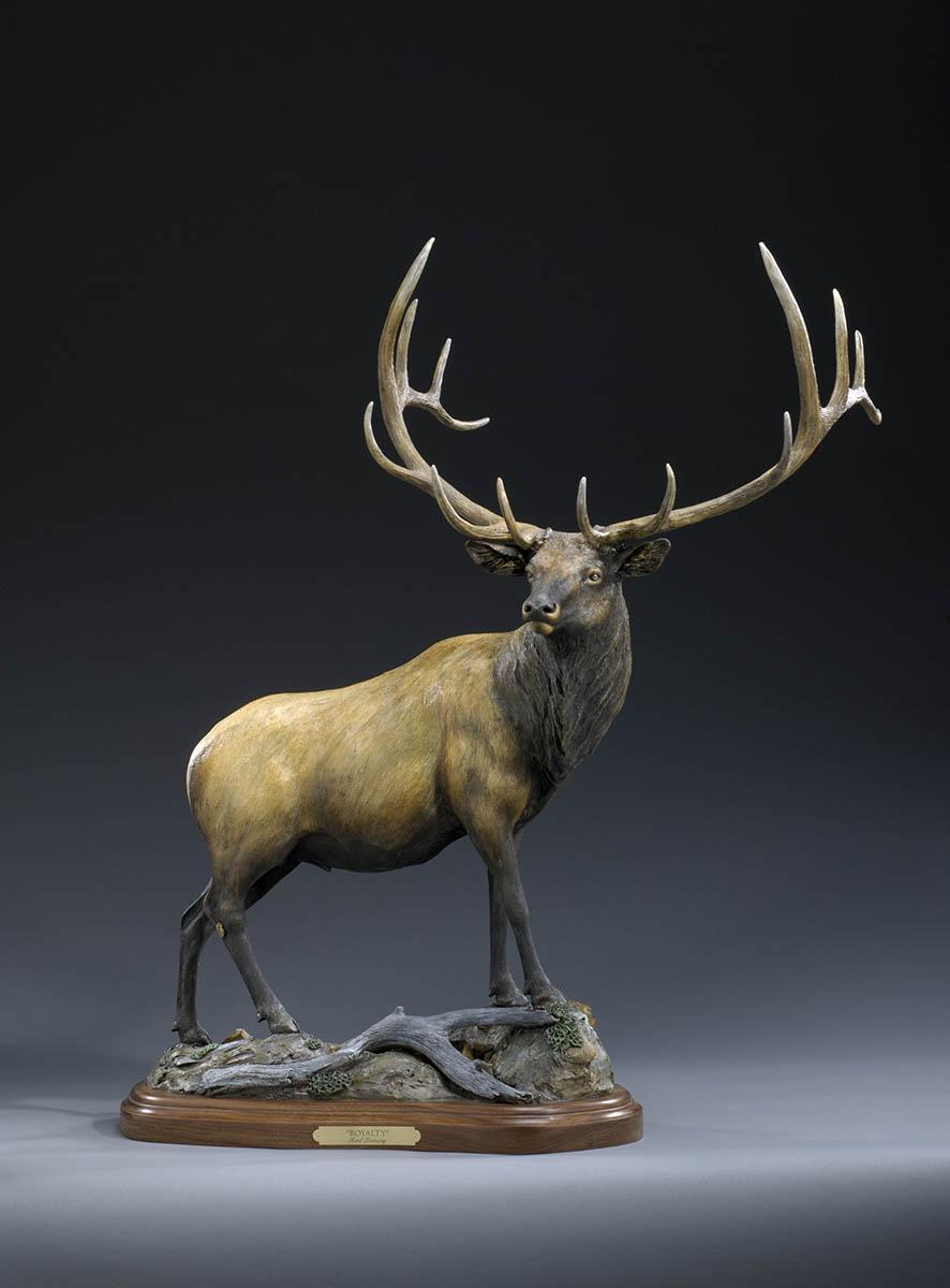 "Royalty37H 29L base 10""W nose to antlers 16""W - ed./30 - Wildlife Bronze Sculpture Bronze Sculpture of North American Animals Bronze Big Game Animal Statues"