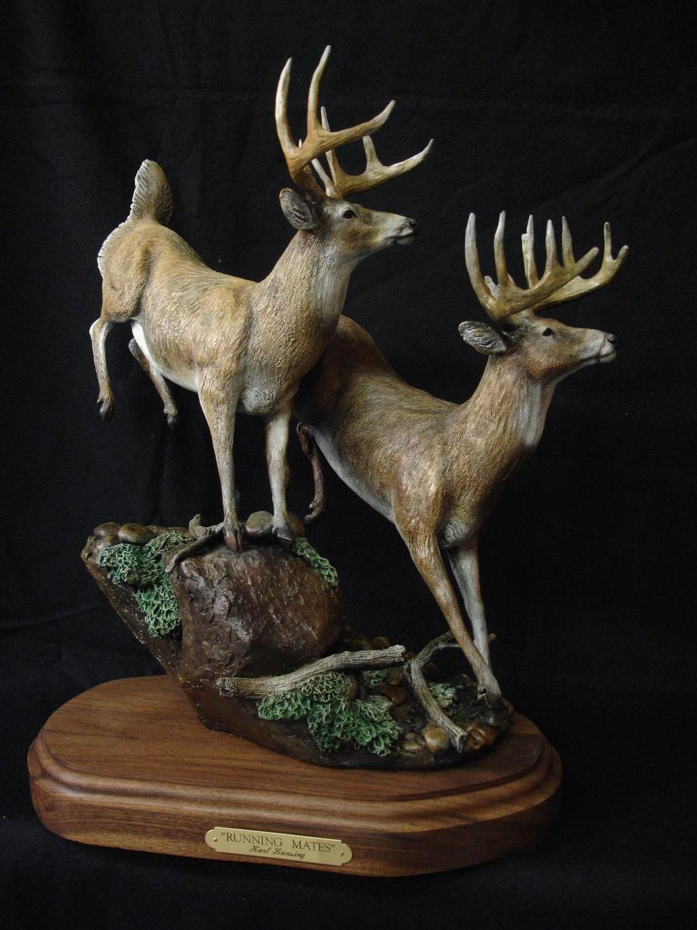 "Running Mates16""L 19""H 9""W - ed./30 - Wildlife Bronze Sculpture Bronze Sculpture of North American Animals Bronze Big Game Animal Statues"