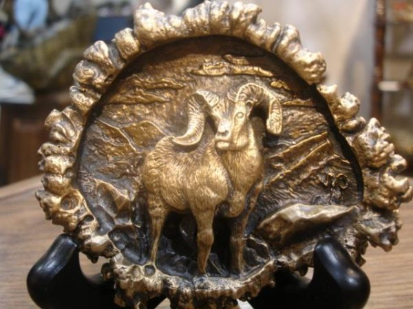 "Sheep ""Burr"" Bronze Belt Buckleed./1000 - 3.5""W 2.5""H - Wildlife Bronze Sculpture Bronze Big Game Belt Buckles Bronze Equine Belt Buckles"