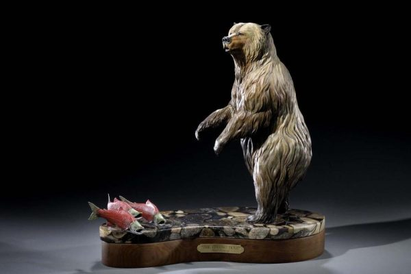 """The Fishing Hole17""""L 18""""H 10""""W - ed./15 - Wildlife Bronze Sculpture Bronze Sculpture of North American Animals Bronze Big Game Animal Statues"""