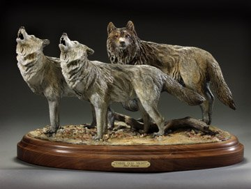 "Three Dog Night11""H 20""L 9""W - ed./25 - Wildlife Bronze Sculpture Bronze Sculpture of North American Animals Bronze Big Game Animal Statues"