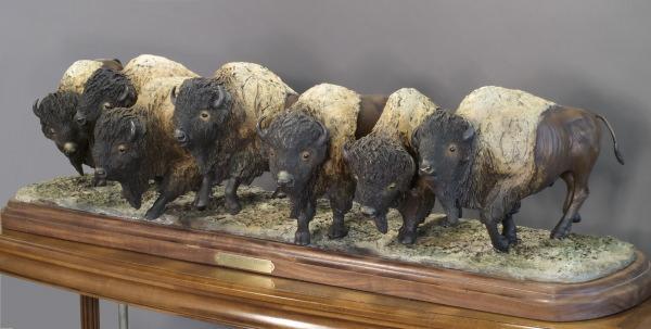 "Thunder on the Prairie46""L 11""W 14""H - ed./25 - Wildlife Bronze Sculpture Bronze Sculpture of North American Animals Bronze Big Game Animal Statues"