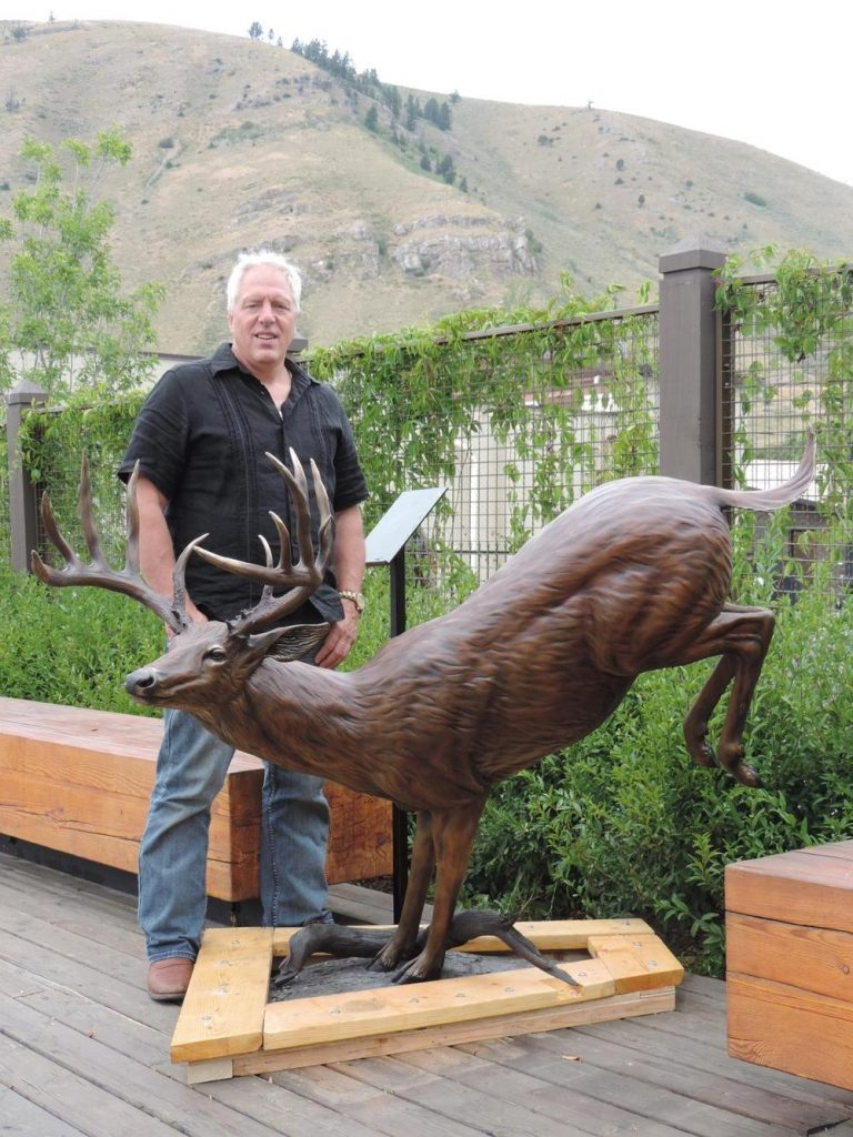 """Forest Ghost<br>57""""H 65""""L - 21""""W x 37""""L base - ed./9 - Wildlife Bronze Sculpture Monumental Whitetail Sculpture Life-size Whitetail Deer Statue"""