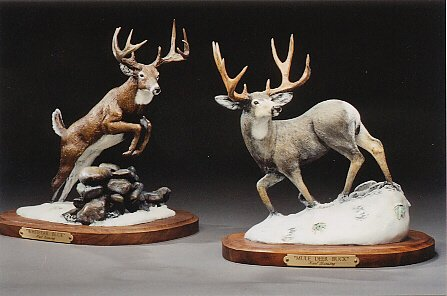 "Whitetail Deer & Mule Deer Buck6""-8""L&H - ed./75 - Wildlife Bronze Sculpture"