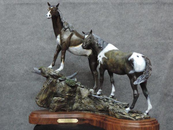 """Wild Horses23""""L 22""""H 11""""W - ed./ 30 - Wildlife Bronze Sculpture Bronze Sculpture of Horses Bronze Equine Statues"""
