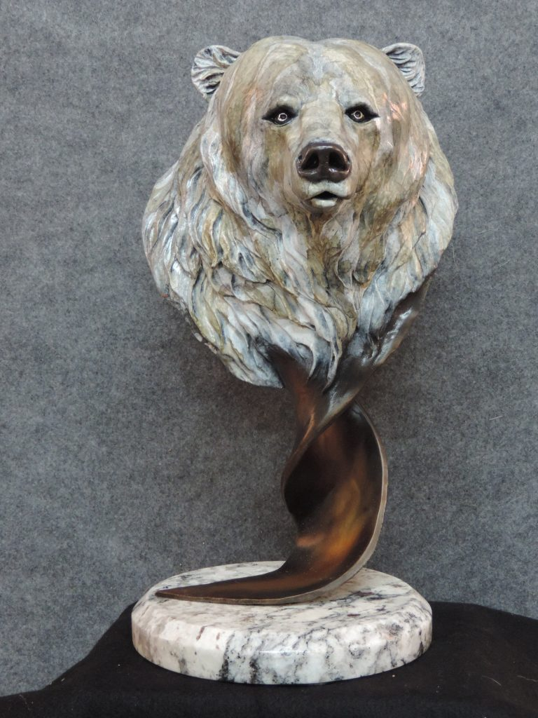 Brother Bear - Grizzly Bear Sculpture - Wildlife Bronze Sculpture Bronze Grizzly Bear Head Grizzly Bear Bust Bronze Sculpture