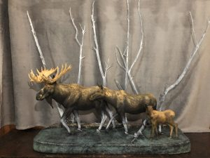"""I Want to be Like You Dad"" -Moose Family Sculpture - by Karl Lansing by"
