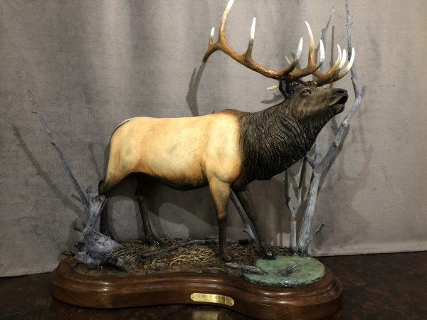 """""""Echoes of September"""" - Bugling Bull Elk - by Karl Lansing 25""""L 7""""W 20""""H Limited Edition /20"""
