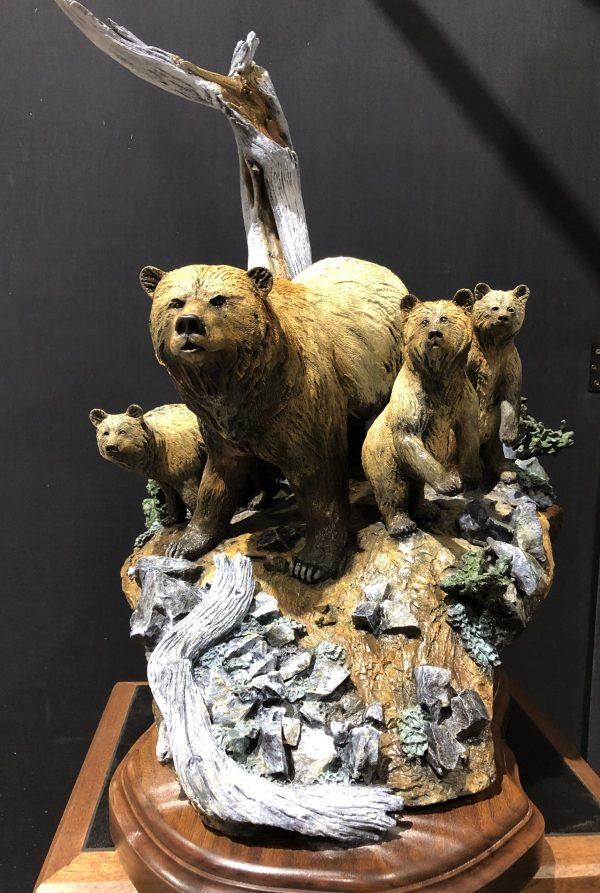 """Preschool"" - Grizzly Bear & Cubs - Sculpture by Karl Lansing"