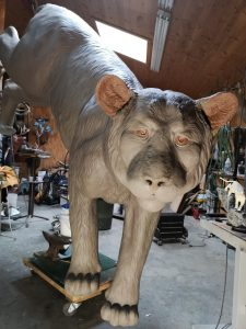 """Quarry Ghost"" - Monumental Mountain Lion Sculpture - Work in Progress - by Karl Lansing"